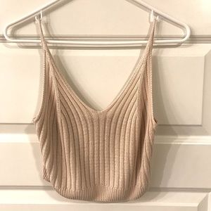 Boutique Ribbed Knit Crop Top Beige One Size